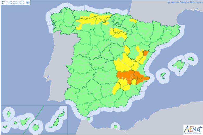 Previsiones climáticas, con la zona naranja como la de mayor riesgo